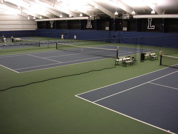 Spectator view of tennis courts