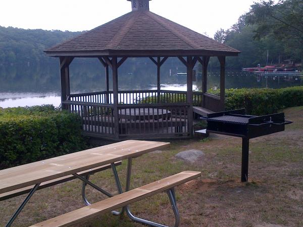 Gazebo area with grill and picnic tables