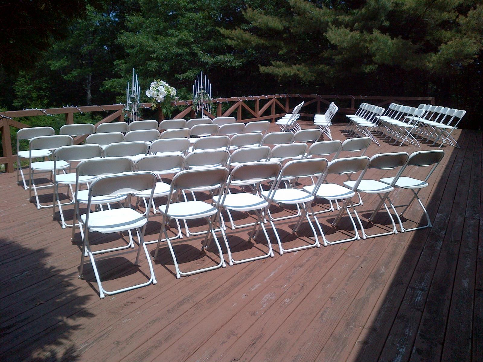 Dining Hall porch set for ceremony