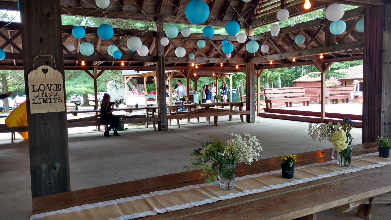 Pavilion decorated for wedding September 2018